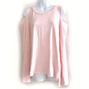 Nation LTD pink cotton Cold shoulder top, size L